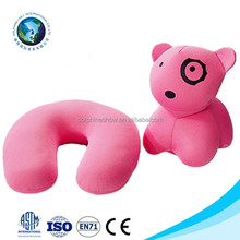 Microbeads Spandex Reversible U Shape Neck Pillow Case Fashion Cartoon Soft Plush Pink Dog Toy 2 in 1 Travel Neck Rest Pillow