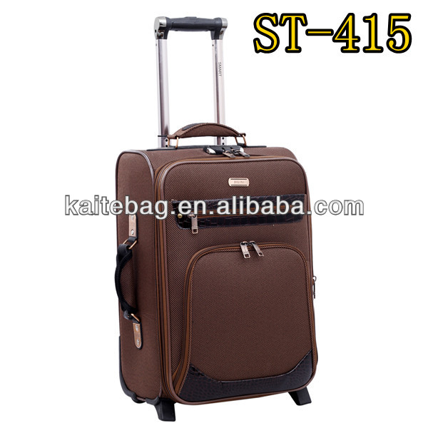 600D twill nylon fabric brown color with leather China factory two wheels top and side handle 4 pcs set case luggage