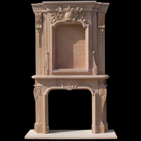 Marble Carved Double Frame Mantel Stone Carved Double Fireplace Mantel DF14