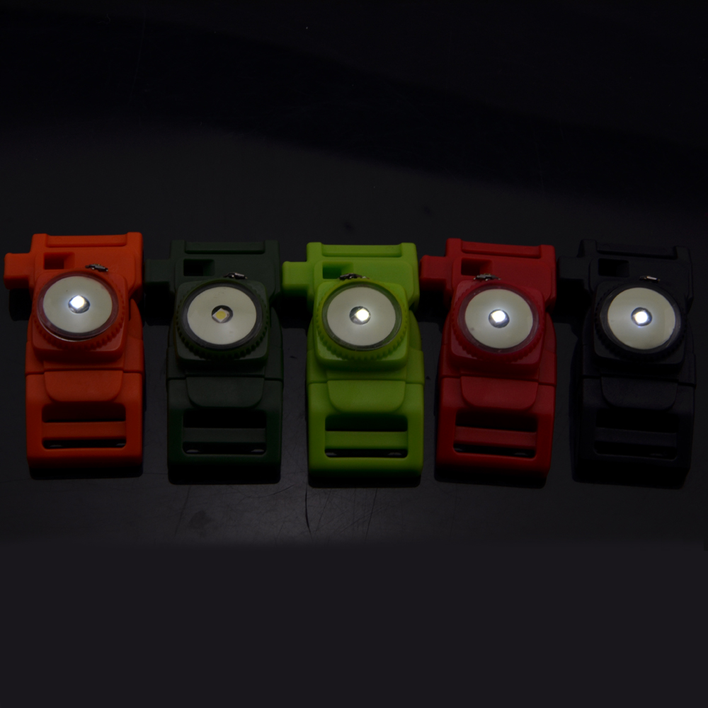 "3/4"" Paracord Buckle with Fire Starter LED Light and Whistle Glow In the Dark Plastic Buckle"