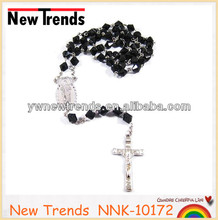 Black rosary crystal bead style cross necklace design