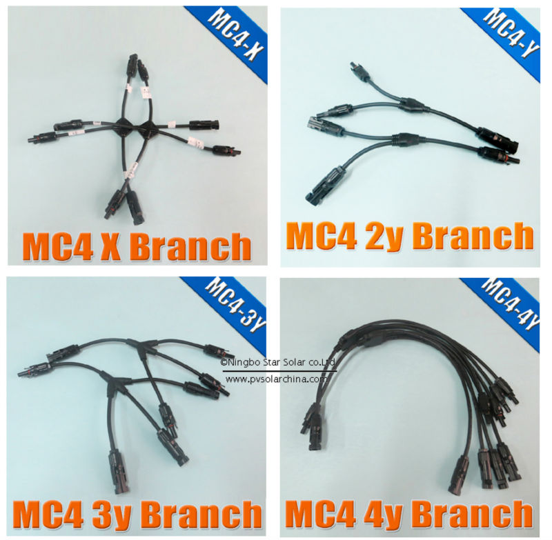 MC4 3Y branch for solar panel parallel connection, MC4 Mnulti Branch Connector with cable