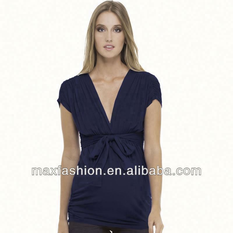 Blue Lucy Ruched Top,maternity top & blouse,wholesale maternity t shirts
