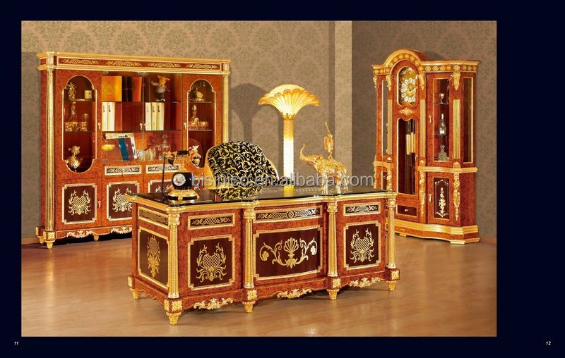 Luxury Italy Style Gold Plated Antique Bedroom Furniture