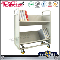 New product Library equipment steel book trolley cart for school