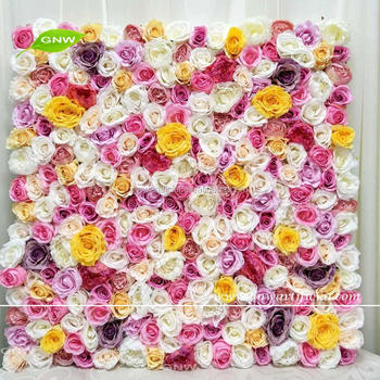 GNW FLW1705006 New design artificial silk mix color flower wall backdrop for wedding decor