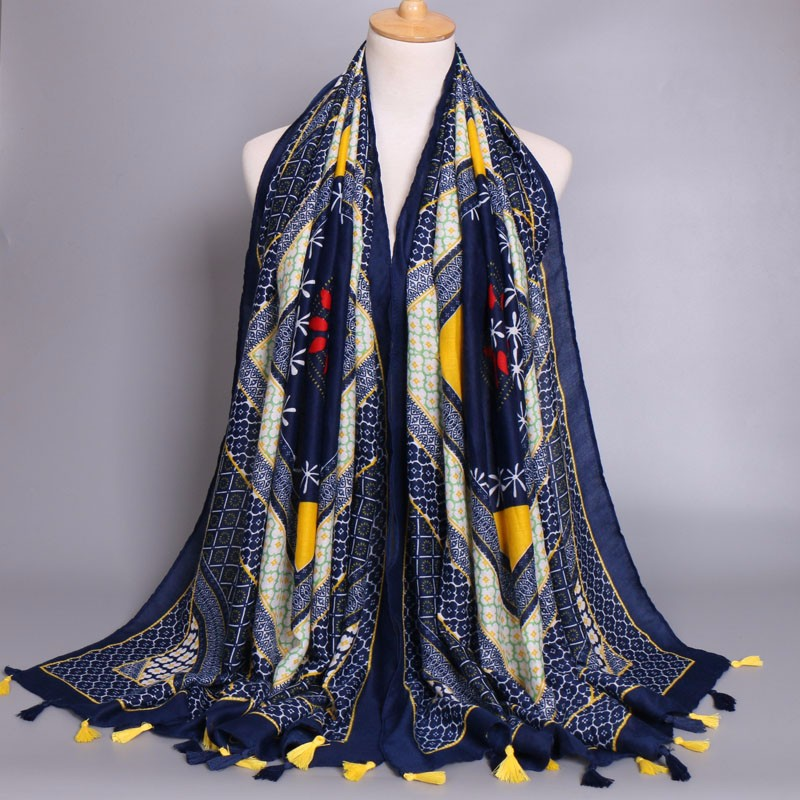 Fashion Vintage tassels design women scarf printed geometric flower printed shawls soft cotton shawls muslim kerchief/scarves