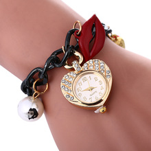 Wholesale Heart Vintage Leather Watch Stocks Selling Wrap Bracelet Watch Accept OEM Order Fashion Lady Watch LNW398