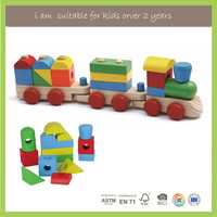 Wooden Educational Toys Shape Building Blocks Pull Magnetic Train Toys