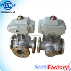 3-way motorized ball valve / three way Electric Ball valve /Flanged 3 way ball valve