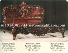 Rococo Bed Mahogany Indoor Furniture