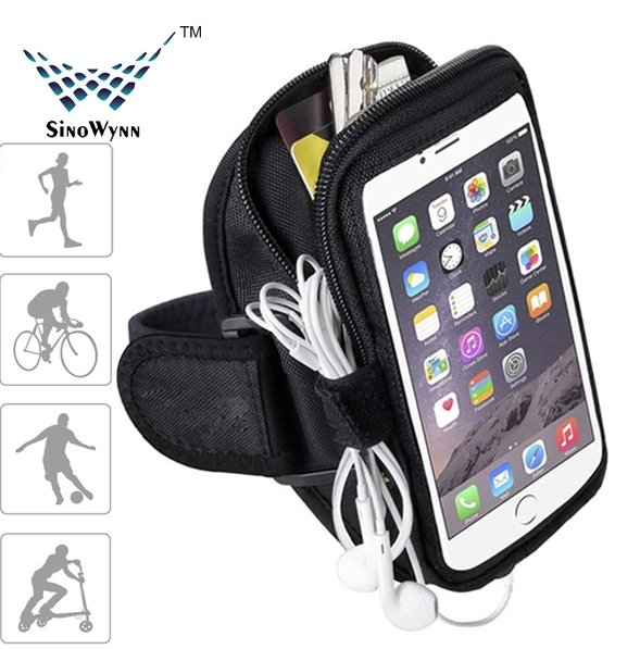 Factory Wholesale Customized Size Design Fitness Sports Armband Case with earphone and Cards Holder