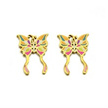 Stainless steel golden butterfly stud earring