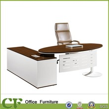 White color office wood furniture with steel modesty panel