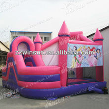 Inflatable pink princess house castle, inflatable bounce art panels