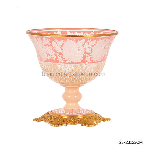 Ornate Gilt Engraved Brass Mounted Glass Decorative Compote, Pink Crackle Colored Textured Eenamel Fruit bowl