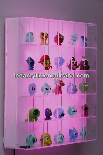 Display Case and Night Light with LED Lighting for Lego, Moshi Monsters