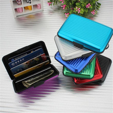 Unisex Women Men Business Metallic Small Cute Striped Trunk Credit Card Wallet Holder Aluminum Metal Pocket Waterproof Case Box