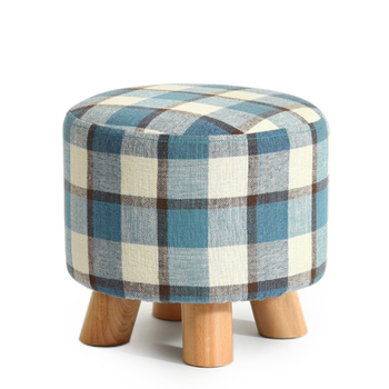 Small Children Wooden Round Stools With A Cushion Wood Ottoman Stool