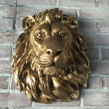 Bronze gold wall relief lion head sculpture