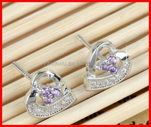 Fashion Jewelry Heart Earring In Real Gold Plating and Silver Pins Small Size Stud Earring