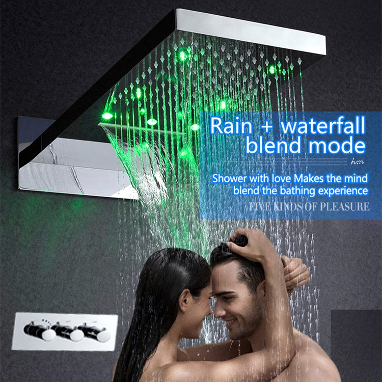3 Function Conceal Bath Shower Set Rainfall Waterfall Shower Head With Hot Cold Water Mixer