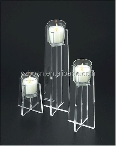 Manufactory custom clear acrylic candle holder lucite tea candle stand