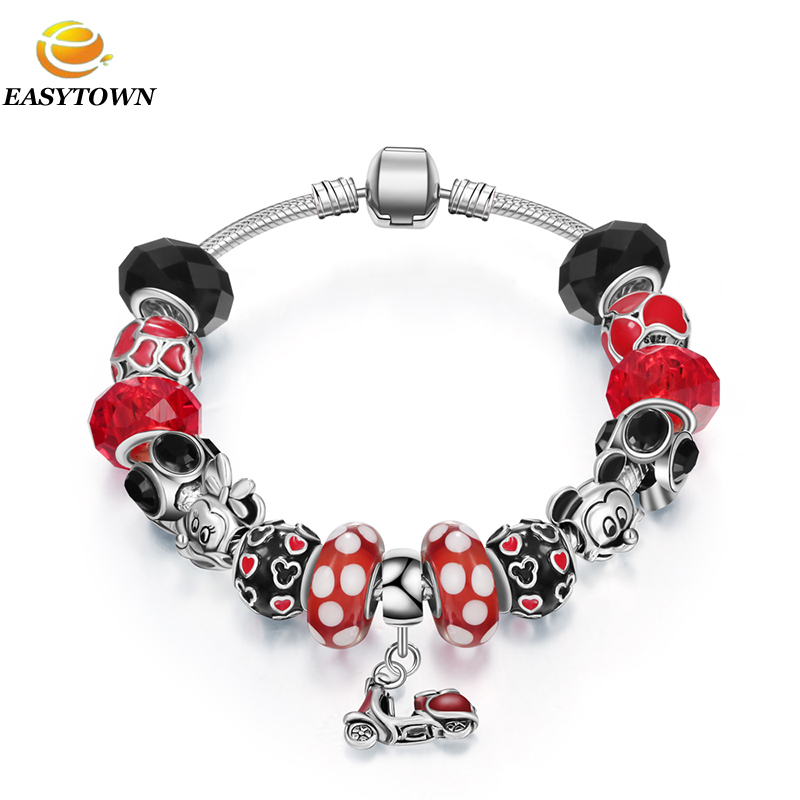 2017 new design bracelet gifts european big hole beads charms bracelet <strong>jewelry</strong> for girls