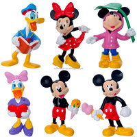 6psc/set 7cm mickey mouse and donald duck action figure mascot costumes statue supplies decoration keychain