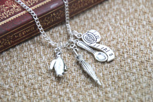 Mary Poppins Inspired Charm Necklace unbrella spoon tape measure charm Inspired Necklace
