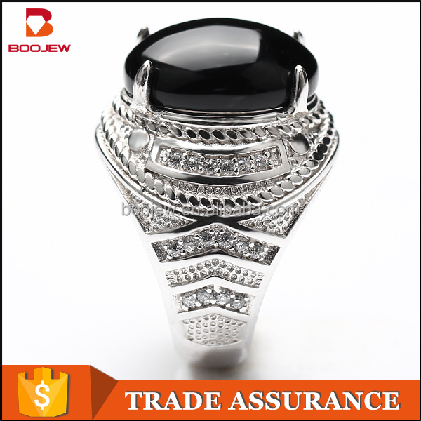 New trend Turkish 925 jewelry silver white gold plated men ring with black big stone
