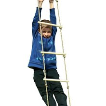 Kids Play Outdoor Indoor Floor Wood Rope Ladder Toys Playground Games For Children Climbing Swing Wooden 5 Rungs PE Rope Ladder