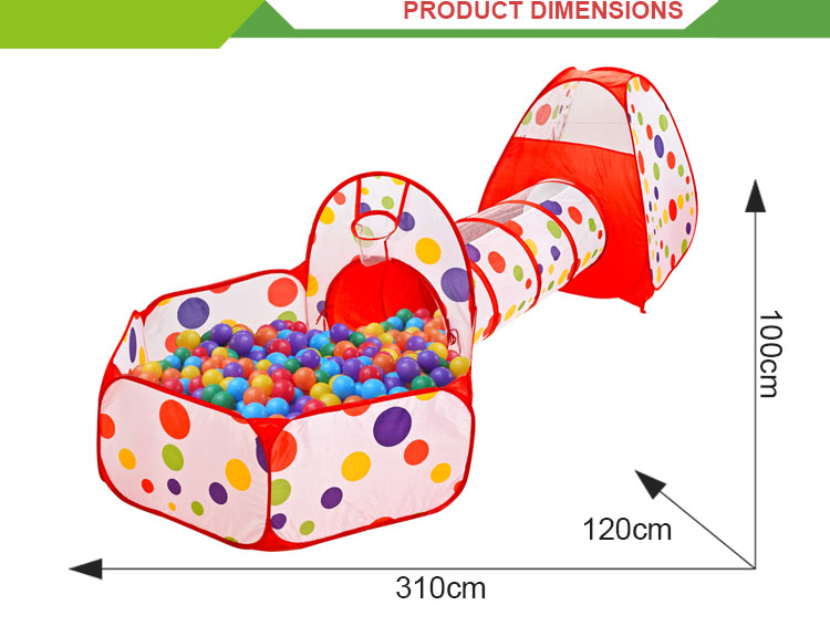 Hot sale colorful foldable pop up kids tunnel tent