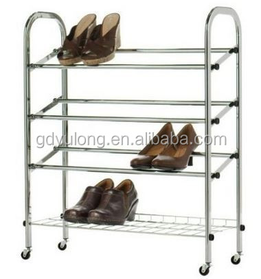 Yulong Home 4 Tier Metal Shoe Rack With Wheels