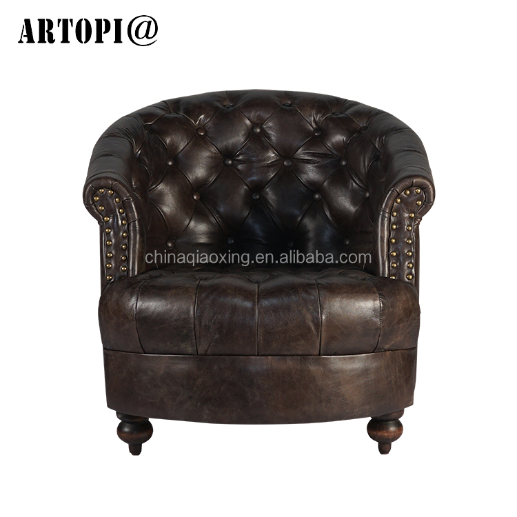 Vintage leather furniture retro home leisure sofa antique armchairs for cafe