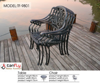 Outdoor Patio Furniture Lotus Design 5pcs Cast Aluminum Bistro Set.