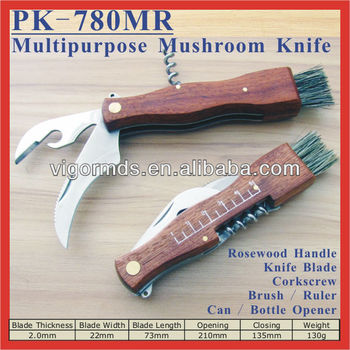 "(PK-780MR) 5.5"" Rosewood Handle Multipurpose Mushroom Harvest Knife"
