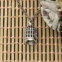 Birdcage Charms Necklace Bird Cage Pendants Necklace Small Bird Cages Necklace Factory Wholesale