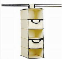 Mouse over image to zoom Cream 5 Shelf Hang Up On Rail Storage - Hanging Wardrobe Clothes Tidy Organiser