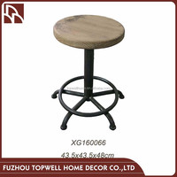 High End Adjustable Wooden And Wrought Iron Bar Stool