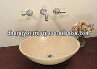 High Quality Round Beige Marble Polished Sink Single Hole Bathroom Sinks