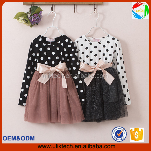 2016 wholesale baby girls spot dress long sleeves spring children clothes frock designs baby clothes free shipping