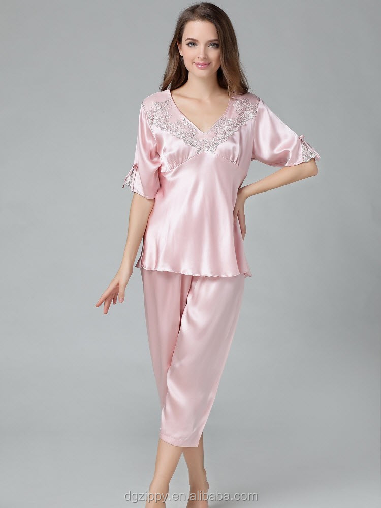 hochwertige glatte damen pyjama mode echte seidenpyjamas lustige frau schlafanzug schlafanzug. Black Bedroom Furniture Sets. Home Design Ideas