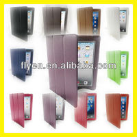 for The New iPad 4 3 2 Generation Smart Cover PU Leather Case Stand Stylish Folio Trifold Tri Fold Cases Covers Purple