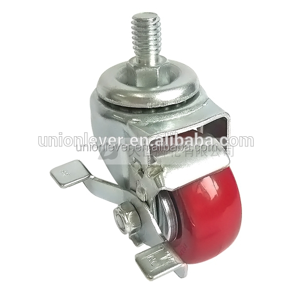 Small 2.5 inch screw type caster wheel rubber fixed caster wheel with brake