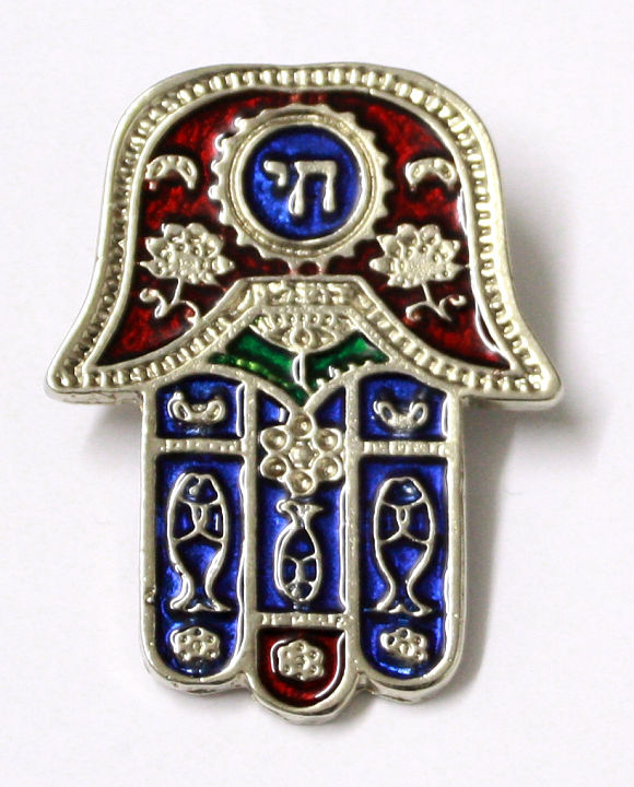 Lucky Evil Eye Hamsa Amulet Pendant Engraved With Hebrew Chai