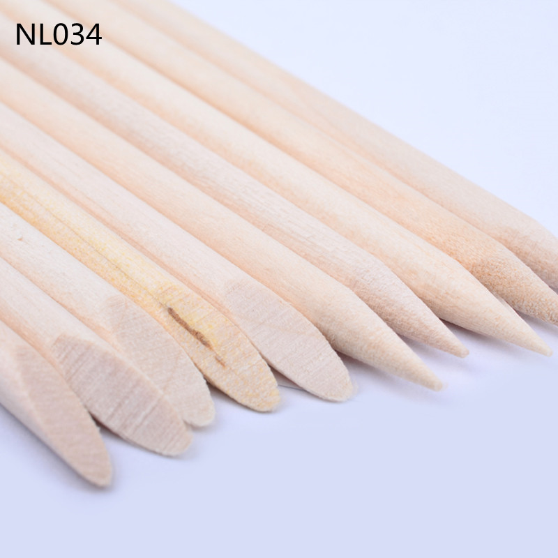 100pcs/pack Orange Wooden Nail Art Stick For Pusher Remover With ...