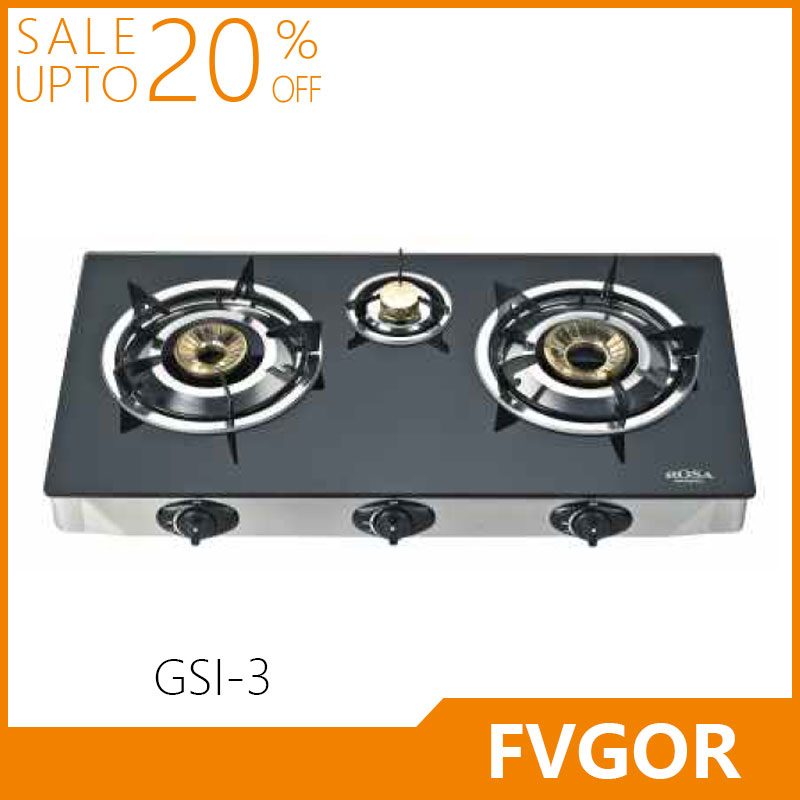 Fvgor GSI-3 manufacturer tempered glass table three burner glass top gas cooker stove