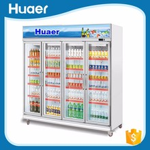 upright commercial beverage display cooler refrigerator freezer air cooling for energy drinks single glass
