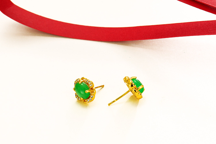 AE9031702 xupign flower shaped artificial stone stud earring jewelry, plated 24k pure gold earring
